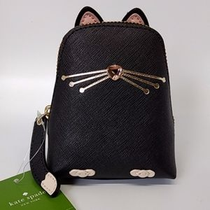 Kate Spade Black Leather Cat Coin Purse